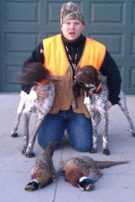 JEKR Kennels first pheasant of the year. - German Shorthaired Pointer Hunting Dog Pictures